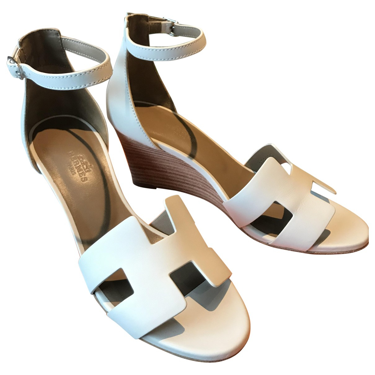 Hermès Legend White Leather Sandals for Women 37 EU