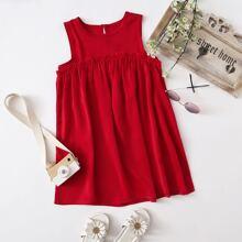 Toddler Girls Frill Trim Solid Smock Dress