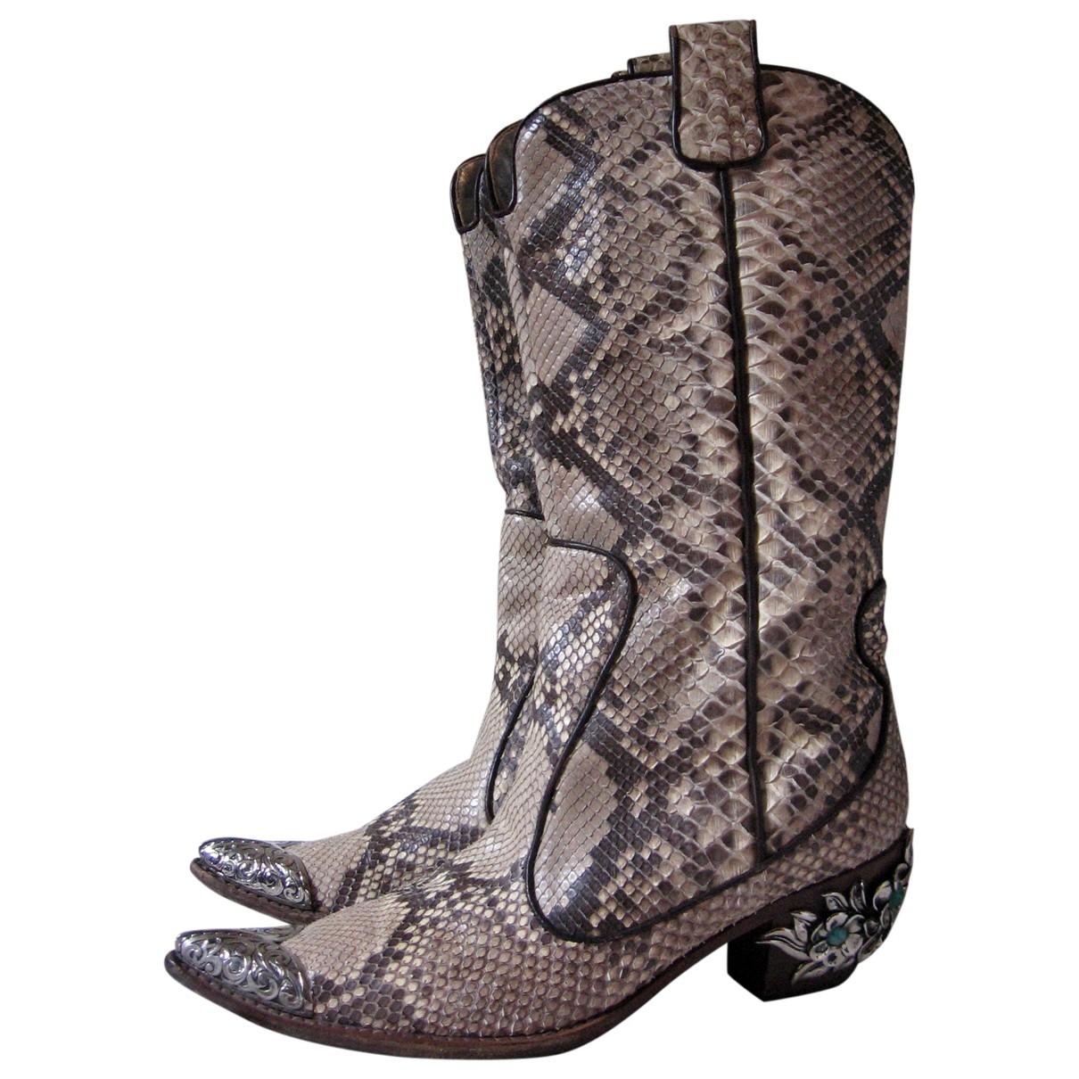 Giuseppe Zanotti - Boots   pour femme en cuir exotique - marron