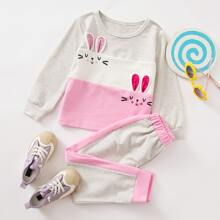Toddler Girls Cartoon Print 3D Ears Patched Tee & Sweatpants