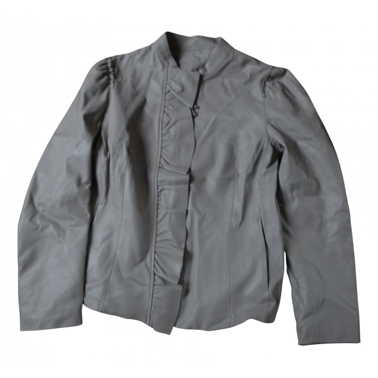 Trussardi - Blouson   pour femme en cuir - gris