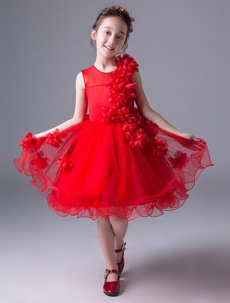 Milanoo Flower Girl Dresses Red Tutu Princess Dress Sleeveless Flowers Lace Short Kids Party Dress