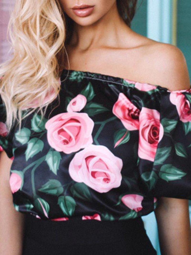 Ericdress Off Shoulder Print Floral Fashion Short Blouse