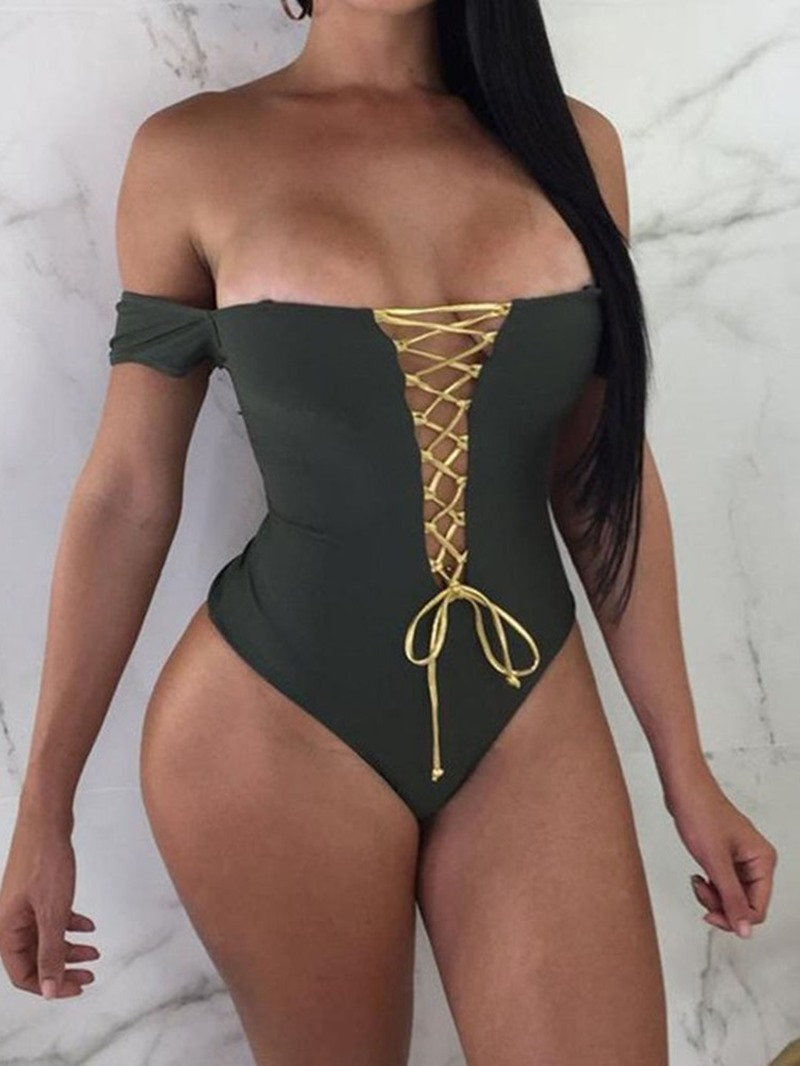 Ericdress A Word Shoulder Conjoined One Piece Sexy Swimwear