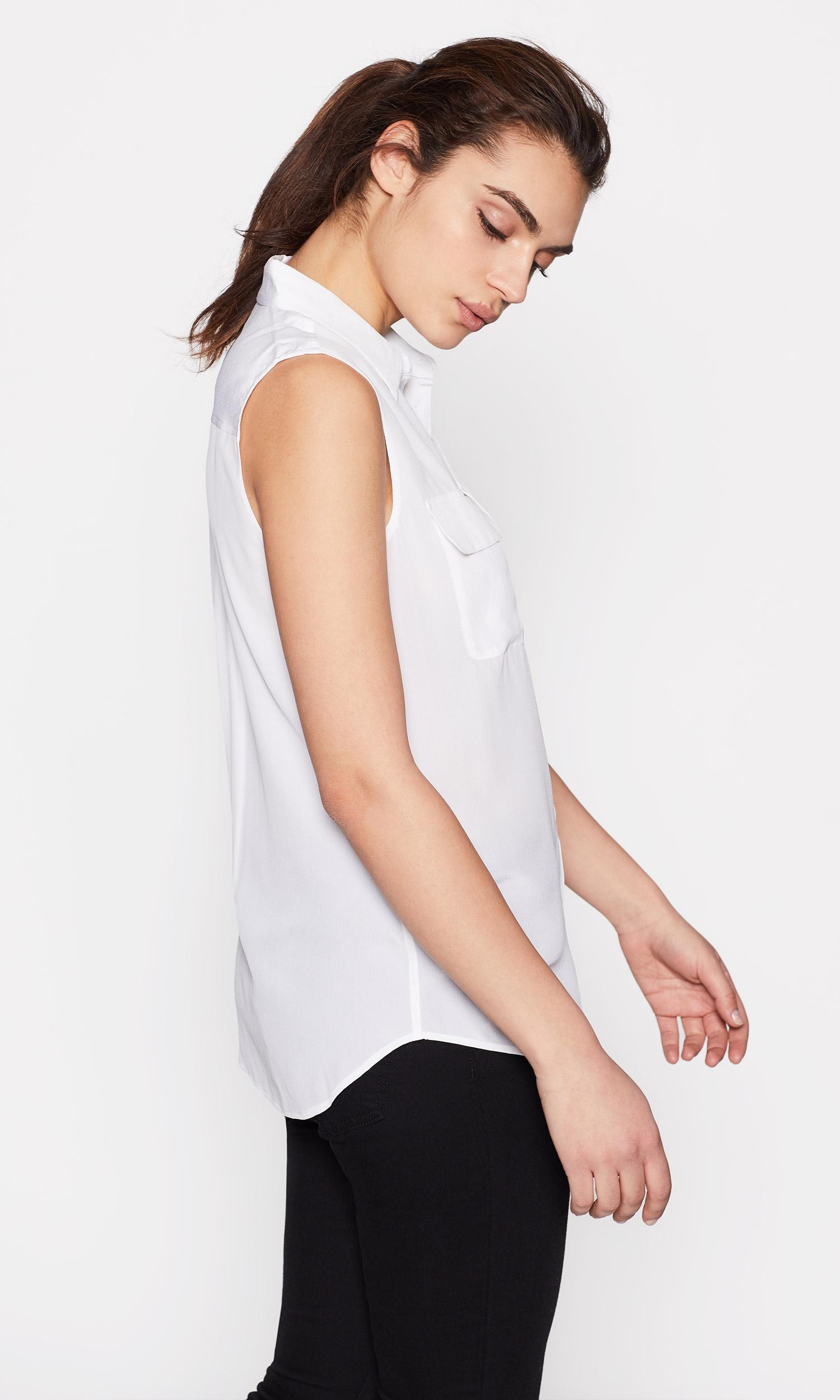 Sleeveless Slim Signature Silk Shirt by Equipment