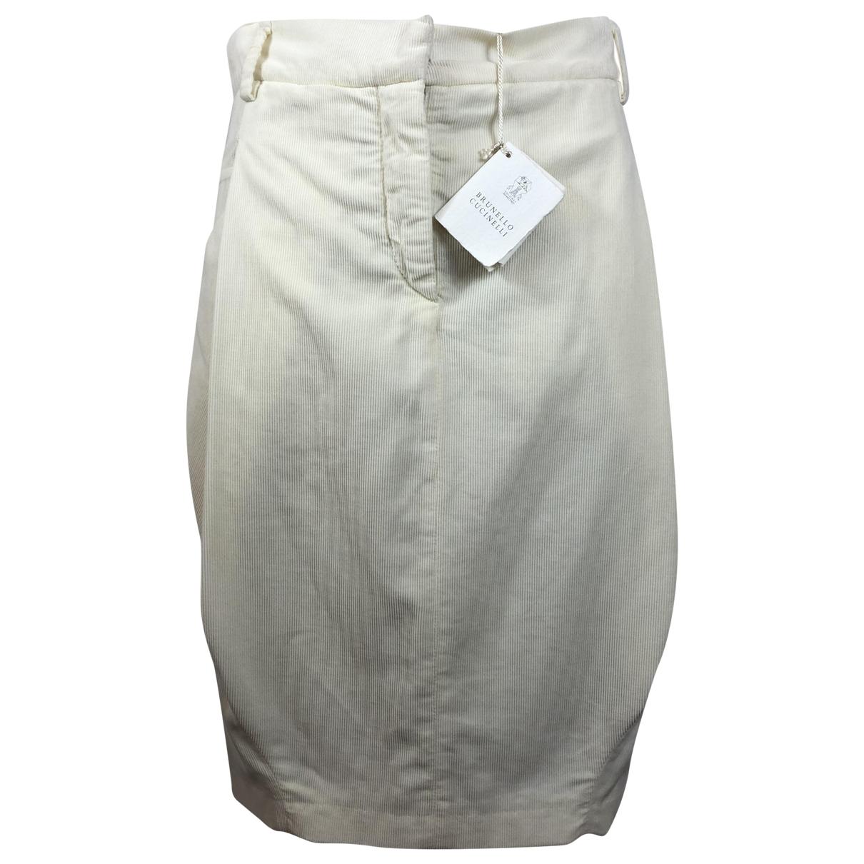 Brunello Cucinelli - Jupe   pour femme en coton - beige