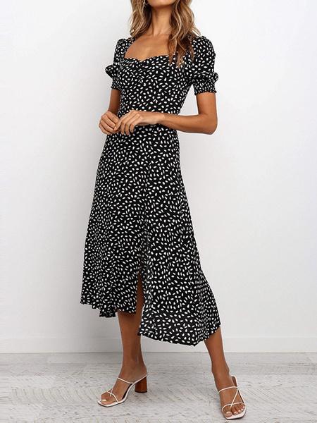 Milanoo Summer Dress Print Puff Sleeve Split Beach Dress