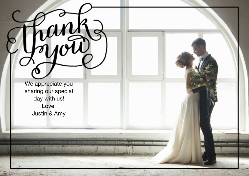 Wedding Thank You 5x7 Cards, Premium Cardstock 120lb with Rounded Corners, Card & Stationery -Thank You Calligraphy