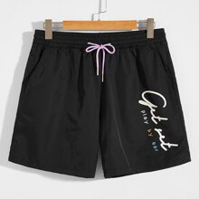 Men Slogan Graphic Drawstring Waist Shorts
