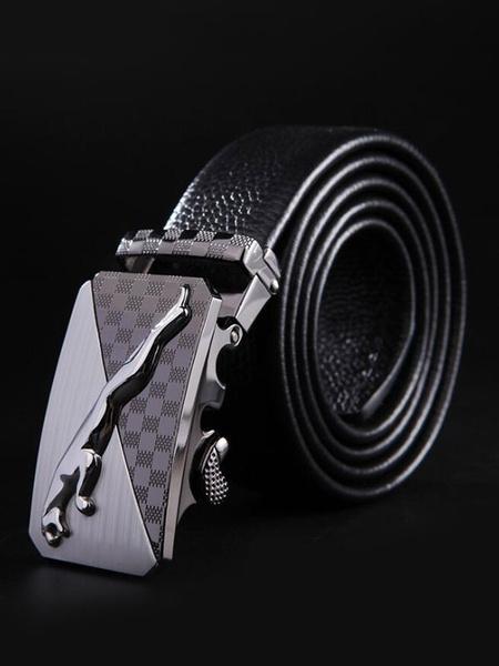 Milanoo Men Buffalo Belt Metallic Buckle Emboosed Business Casual Belt