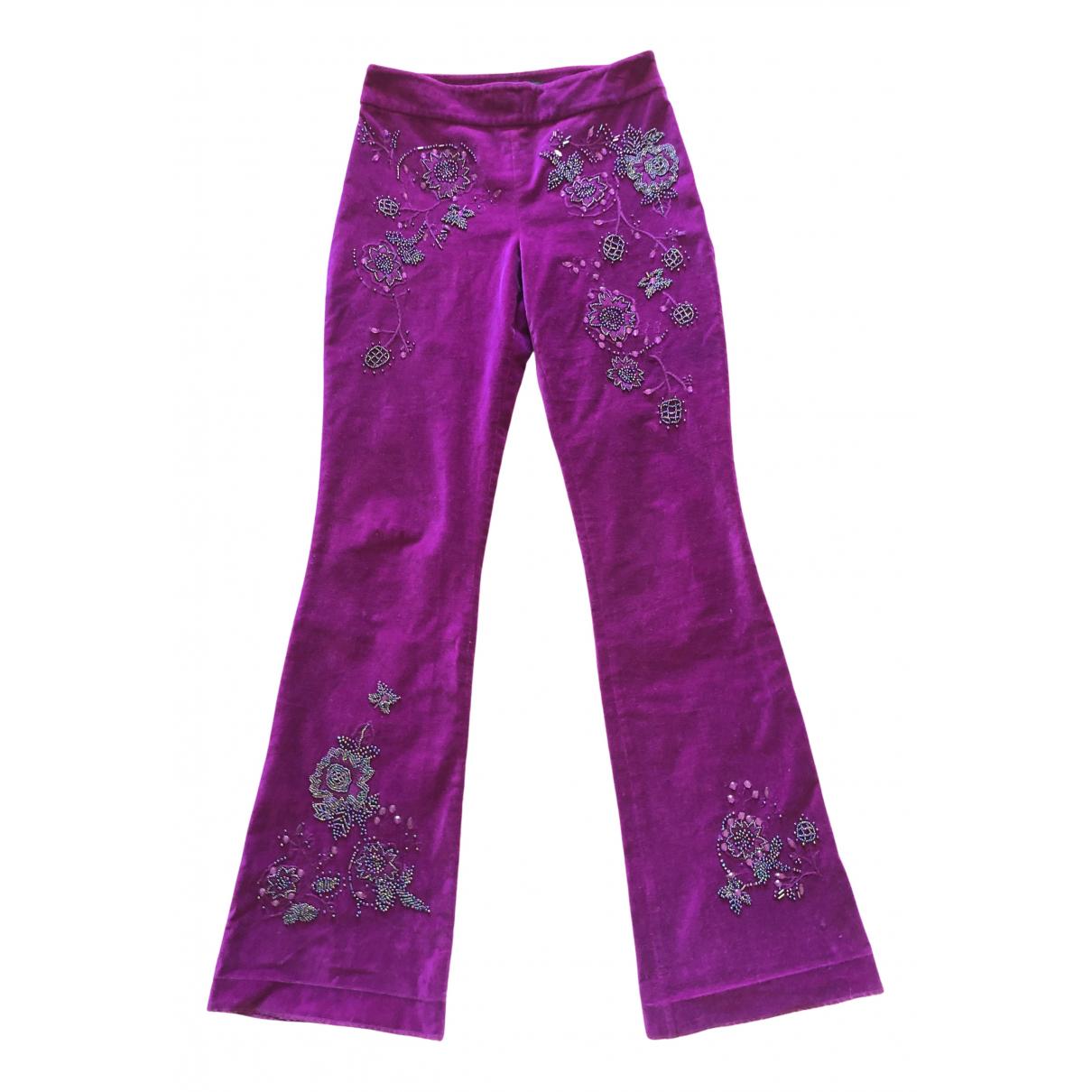 Karen Millen N Purple Cotton Trousers for Women 10 UK