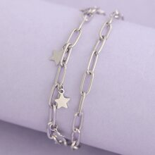 Layered Lightening Bolt Toggle Chain Bracelet
