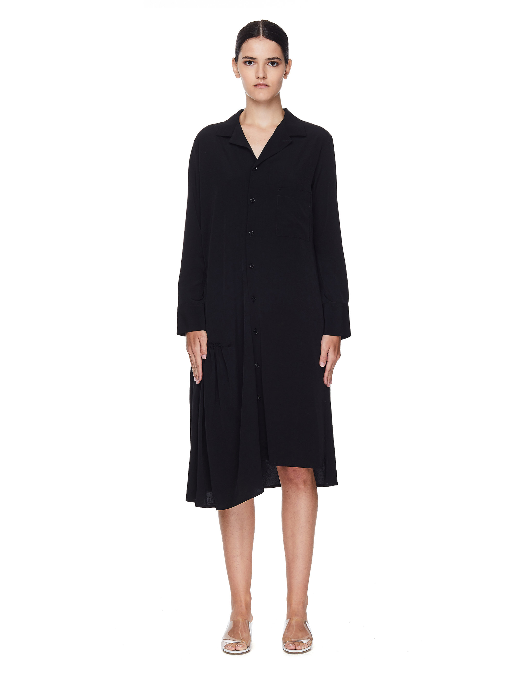 Y's Black Buttoned Dress