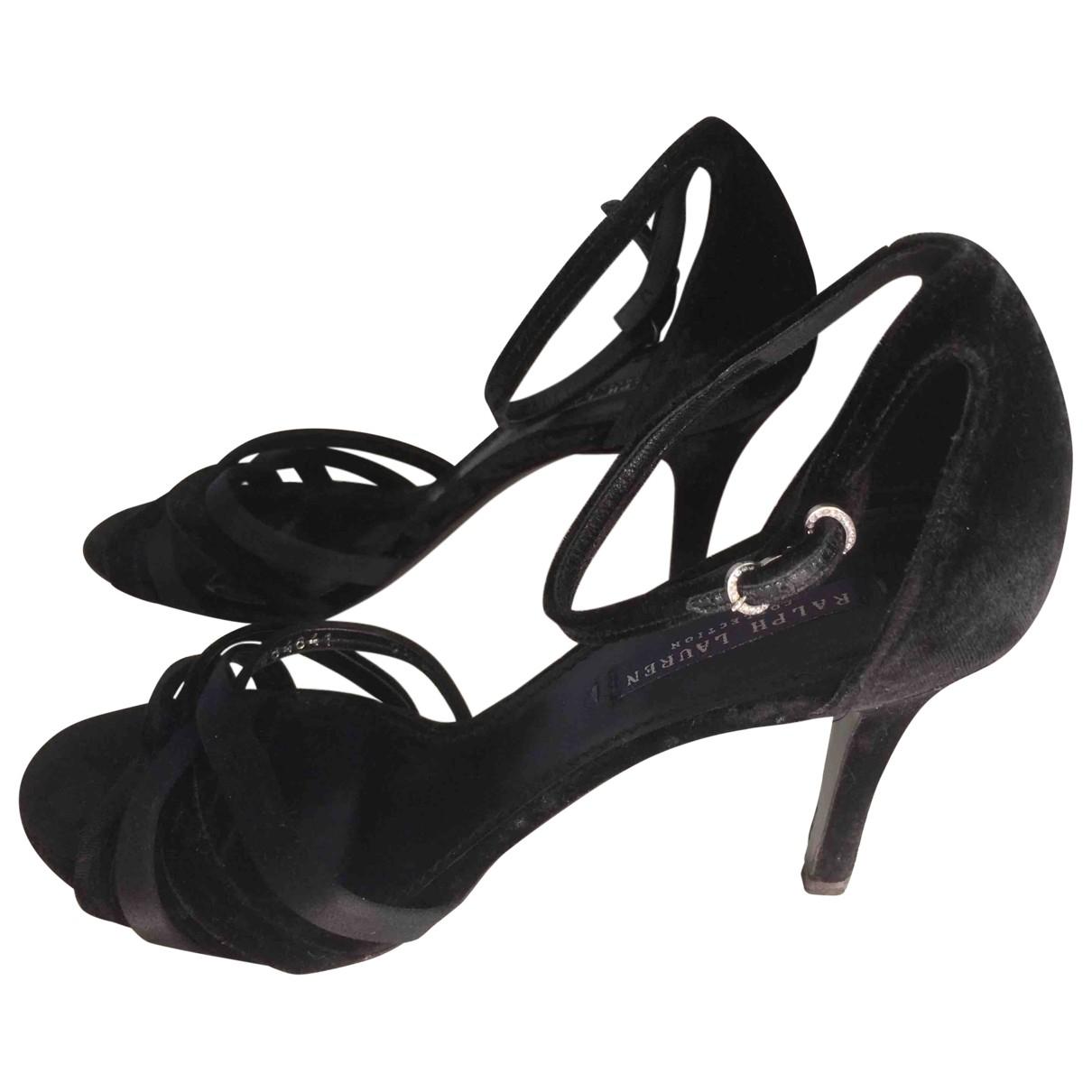 Ralph Lauren - Sandales   pour femme en velours - noir