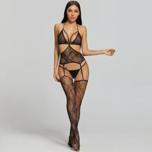 Fishnet Cut-out Sheer Bodystocking