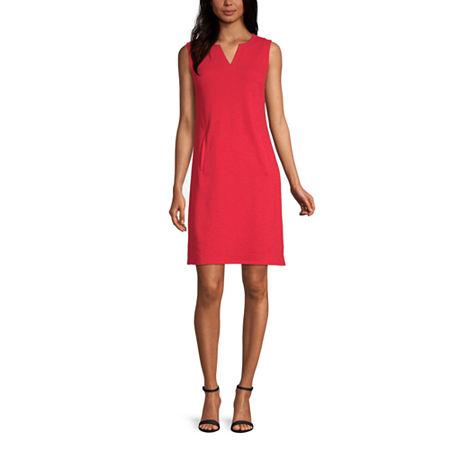 Liz Claiborne Sleeveless Shift Dress, Petite Medium , Red