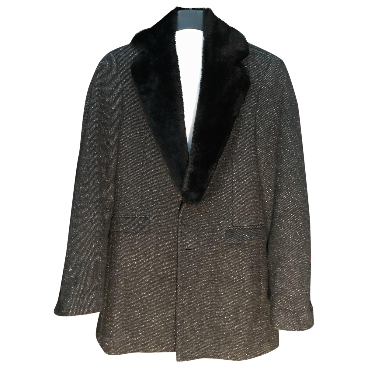 Non Signé / Unsigned \N Anthracite Wool coat  for Men 46 IT