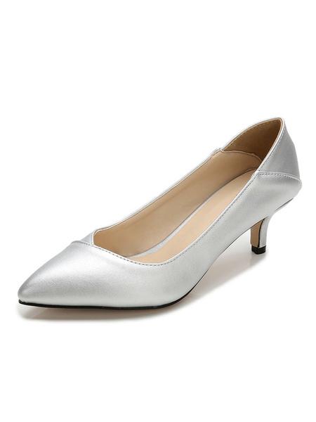 Milanoo Kitten Heel Pumps Women Dress Shoes Pointed Toe Heels