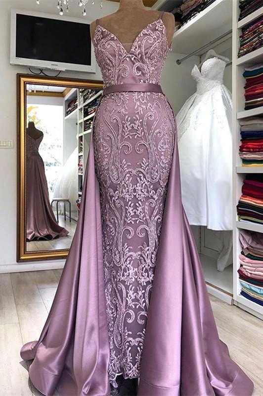 Spaghetti Strap Lilac Sleeveless Evening Dress with Overskirt   Sexy V-back Prom Dress with gorgeous Lace appliques