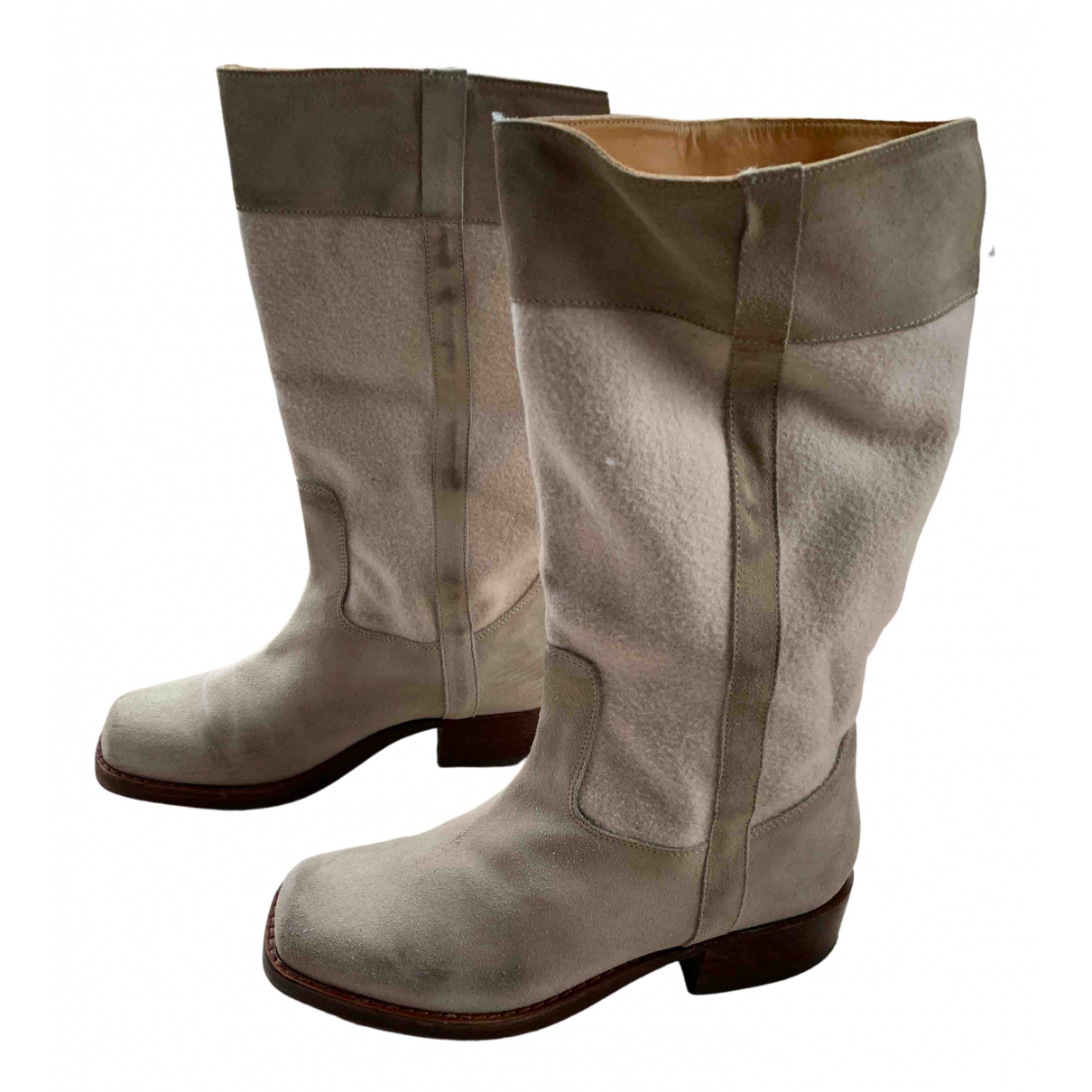 Robert Clergerie N Beige Leather Boots for Women 6 UK