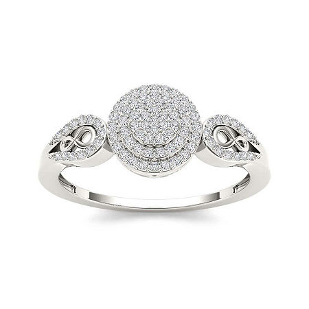 1/5 CT. T.W. Diamond 10K White Gold Infinity Engagement Ring, 9 , No Color Family