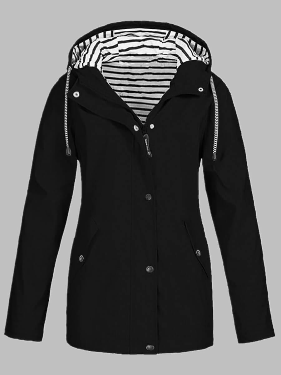 LW Lovely Trendy Hooded Collar Zipper Buttons Design Black Coat