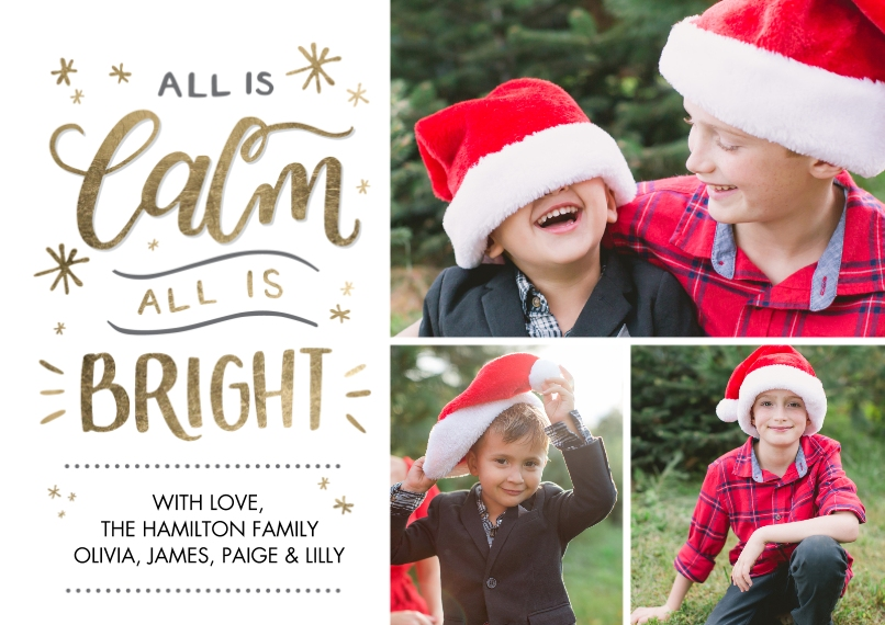 Christmas Photo Cards 5x7 Cards, Premium Cardstock 120lb, Card & Stationery -Christmas Calm and Bright by Tumbalina