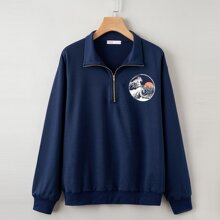 Wave Graphic Half Zip Sweatshirt