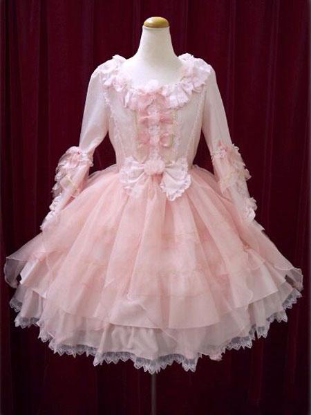 Milanoo Sweet Lolita Dress OP Pink Bow Hime Sleeve Ball Gown Lolita One Piece Dress