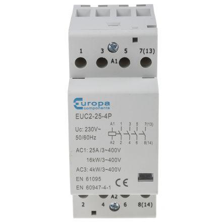 Europa 4 Pole Contactor - 25 A, 230 V ac Coil, 4NO, 4 kW
