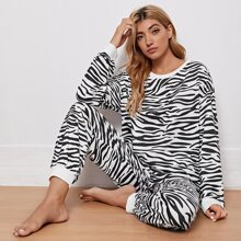 Schlafanzug Set mit Zebra Streifen Muster