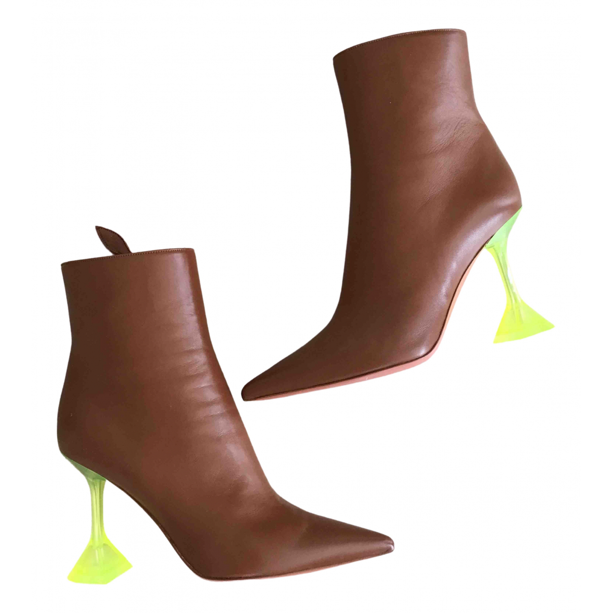 Amina Muaddi \N Camel Leather Ankle boots for Women 38.5 EU