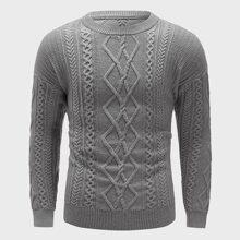 Men Cable Knit Drop Shoulder Sweater