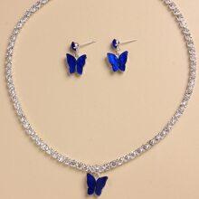 1 Stueck Halskette & 1 Paar Ohrringe mit Schmetterling Dekor