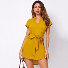 Notch Neck Dolman Sleeve Dip Hem Self Belted Dress