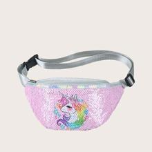 Riñonera de niñas con diseño de lentejuelas en contraste grafica con unicornio