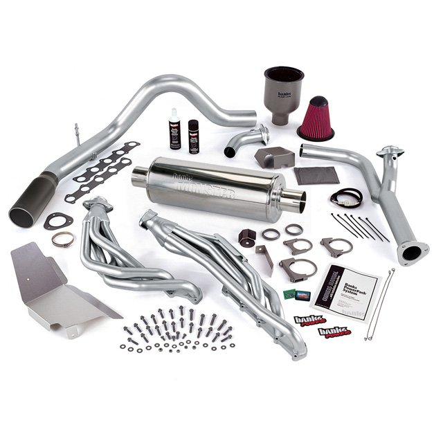 PowerPack Bundle W/AutoMind ModuleSingle Exit Exhaust Black Tip 99-04 Ford 6.8L Truck Banks Power 49441-B