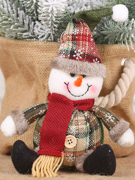 Milanoo Xmas Party Supplies Button Plaid Doll Christmas Costume Decorations