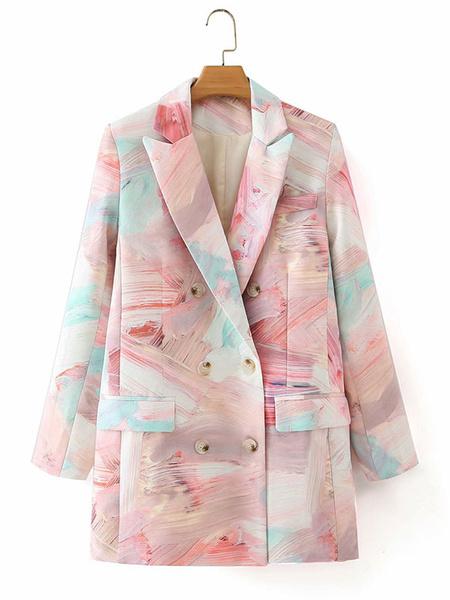 Milanoo Chaqueta casual para mujer, cuello vuelto rosa, mangas largas, chaquetas cruzadas