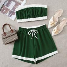 Contrast Binding Tube Top With Drawstring Waist Track Shorts