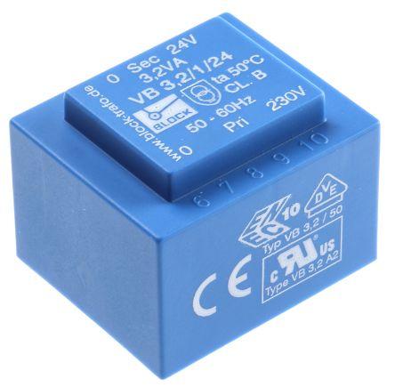 Block 24V ac 1 Output Through Hole PCB Transformer, 3.2VA