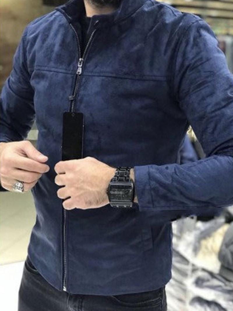 Ericdress Stand Collar Thick Plain Color Zipper Men's Jacket