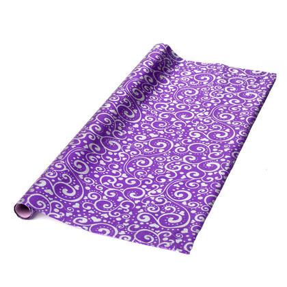 Gift Wrap Roll Foil Floral Printed 27.5 12 Sq.ft 1Pc, Purple - LIVINGbasics™