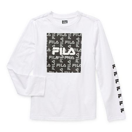 Fila Big Boys Round Neck Long Sleeve T-Shirt, Medium (10-12) , White