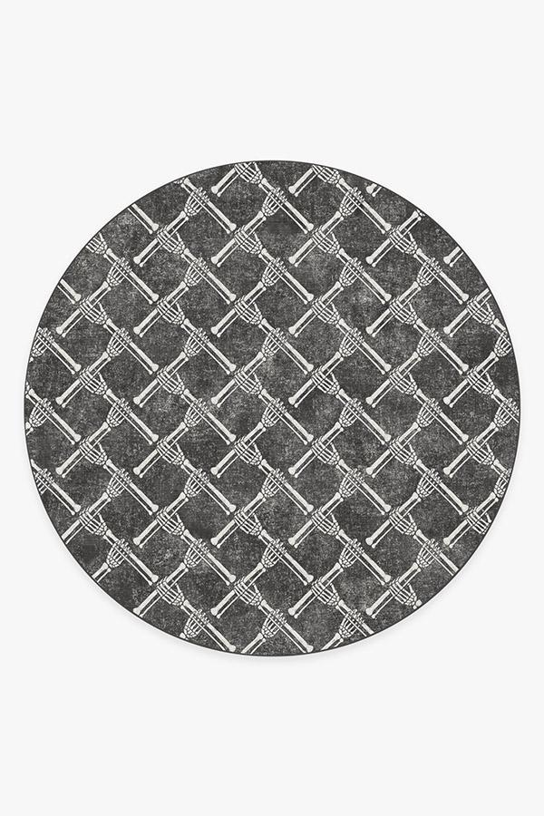 Washable Rug Cover | Skeleton Trellis Black Rug | Stain-Resistant | Ruggable | 8' Round