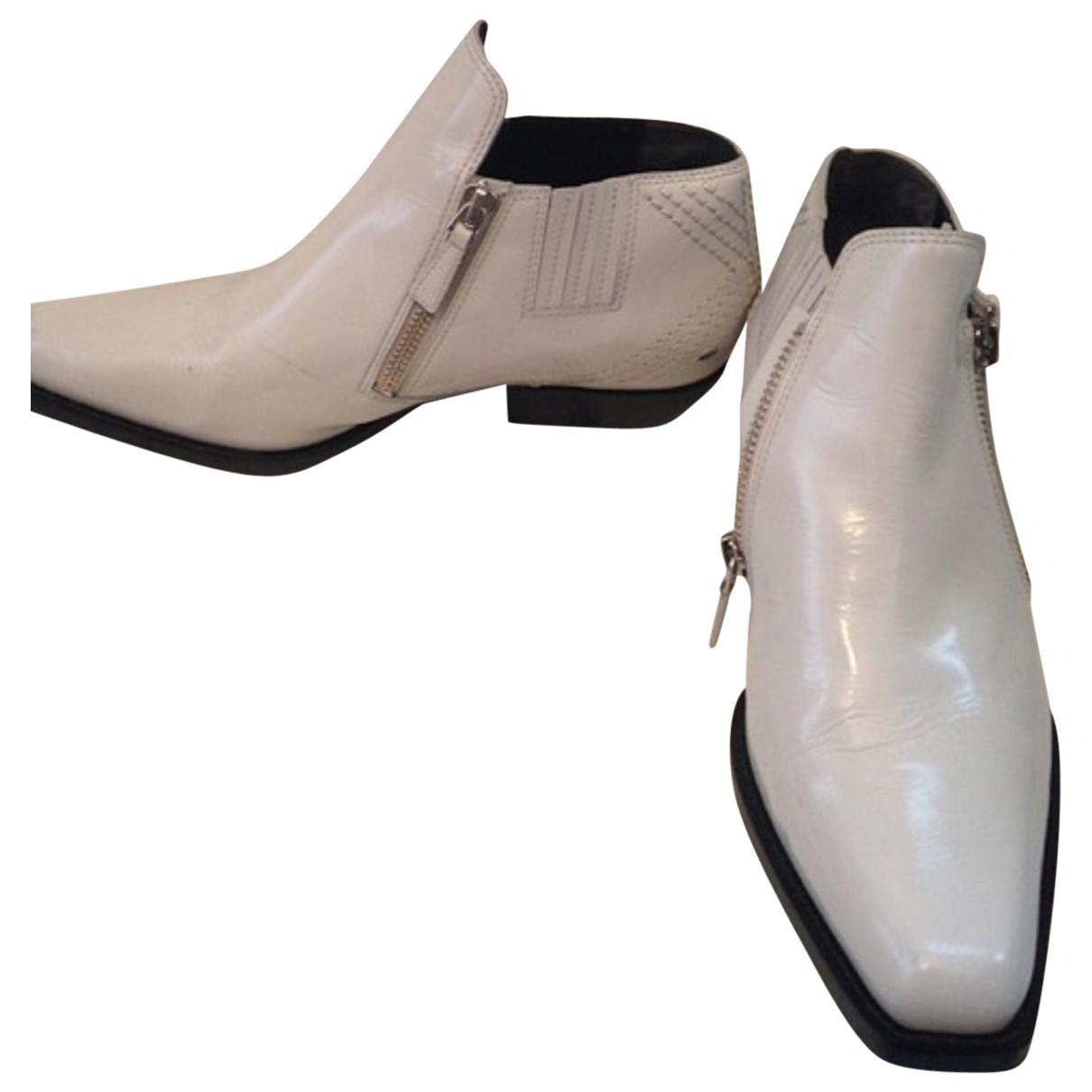 Kenzo - Boots   pour femme en cuir verni - blanc
