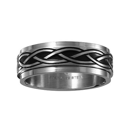 Mens 7.5mm Two-Tone Stainless Steel Weave Wedding Band, 10 , No Color Family