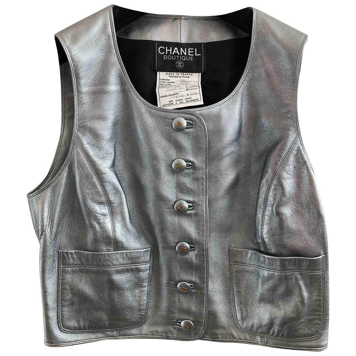 Chanel - Top   pour femme en cuir - argente