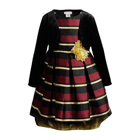 Emily West Little Girls Sleeveless Cardigan Dress Set, 4 , Black
