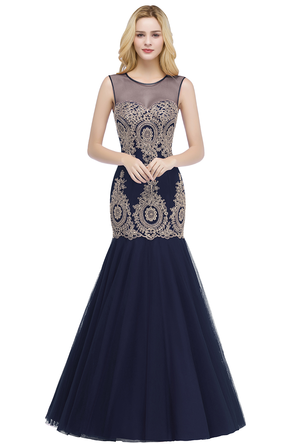 BMbridal Burgundy Lace Appliques Mermaid Prom Dress Long Online